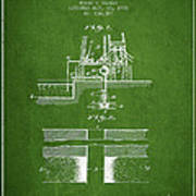 Method Of Drilling Wells Patent From 1906 - Green Poster