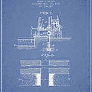 Method Of Drilling Wells Patent From 1906 - Light Blue Poster