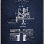Method Of Drilling Wells Patent From 1906 - Navy Blue Poster