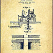 Method Of Drilling Wells Patent From 1906 - Vintage Poster