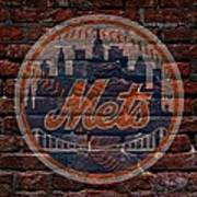 Mets Baseball Graffiti On Brick  Poster by Movie Poster Prints