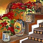 Mexican Pottery On Staircase Poster
