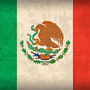Mexico Flag Vintage Distressed Finish Poster