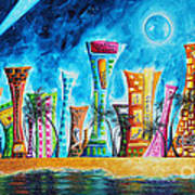 Miami City South Beach Original Painting Tropical Cityscape Art Miami Night Life By Madart Absolut X Poster