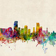 Miami Florida Skyline Poster by Michael Tompsett