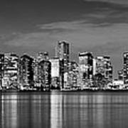 Miami Skyline At Dusk Black And White Bw Panorama Poster by Jon Holiday