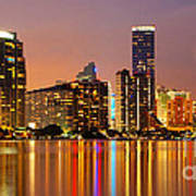Miami Skyline At Dusk Poster