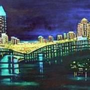 Miami Skyline Of Lights Poster