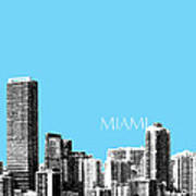 Miami Skyline - Sky Blue Poster