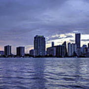 Miami Skyline Waves Poster
