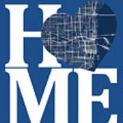 Miami Street Map Home Heart - Miami Florida Road Map In A Heart Poster