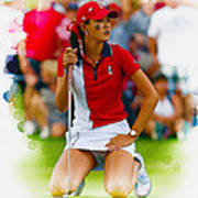 Michelle Wie Of The Usa Solhiem Cup Reacts After Missing A Putt Poster