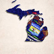 Michigan Map Art With Flag Design Poster