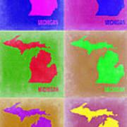 Michigan Pop Art Map 2 Poster