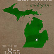 Michigan State University Spartans East Lansing College Town State Map Poster Series No 004 Poster