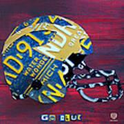 Michigan Wolverines College Football Helmet Vintage License Plate Art Poster