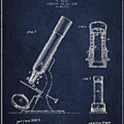Microscope Patent Drawing From 1865 - Navy Blue Poster