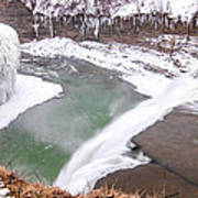 Middle Falls And Ice Feathers Poster