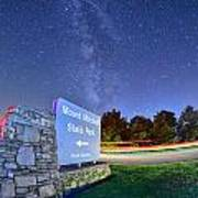 Midnight At Mount Mitchell Entrance Sign Poster