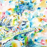 Mike Bloomfield Playing The Guitar - Watercolor Portrait Poster