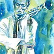 Miles Davis Watercolor Portrait.3 Poster