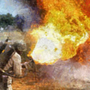 Military Flame Thrower Photo Art 01 Poster