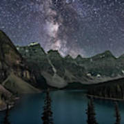 Milky Way Over Moraine Lake Poster