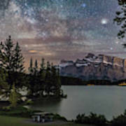 Milky Way Over Mt Rundle Poster
