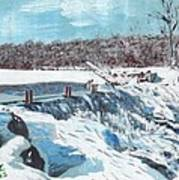 Mill Pond In Winter Poster
