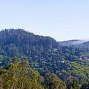 Mill Valley Ca Hills With Fog Coming In Left Panel Poster