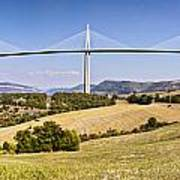 Millau Viaduct Panorama Midi Pyrenees France Poster by Colin and Linda McKie