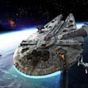 Millenium Falcon Being Escorted Poster