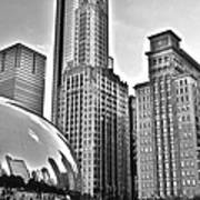 Millennium Park In Black And White Poster