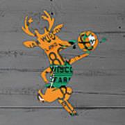 Milwaukee Bucks Basketball Team Logo Vintage Recycled Wisconsin License Plate Art Poster