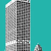 Milwaukee Skyline 1 - Teal Poster