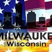 Milwaukee Wi Patriotic Large Cityscape Poster