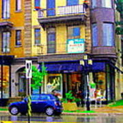 Mimi And Coco Clothing Boutique Laurier In The Rain  Plateau Montreal City Scenes Carole Spandau Art Poster