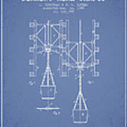 Mine Shaft Safety Device Patent From 1899 - Light Blue Poster