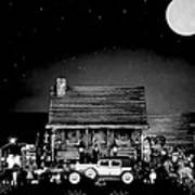 Miniature Log Cabin Scene With Old Time Vintage Classic 1930 Packard Labaron In Black And White Poster