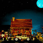Miniature Log Cabin Scene With Old Time Vintage Classic 1930 Packard Labaron In Color Poster by Leslie Crotty