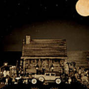 Miniature Log Cabin Scene With Old Vintage Classic 1930 Packard Labaron In Sepia Color Poster by Leslie Crotty