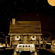 Miniature Log Cabin Scene With Old Vintage Classic 1962 Coca Cola Flower Power V.w. Bus In Sepia  Poster by Leslie Crotty