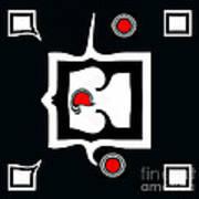 Minimalism Abstract Geometric Black White Red Art No.390. Poster by Drinka Mercep