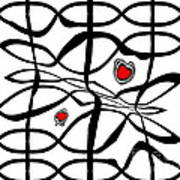 Minimalist Art Black White Red Abstract Art No.206. Poster
