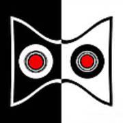 Minimalist Art Geometric Black White Red Abstract Print No.50. Poster