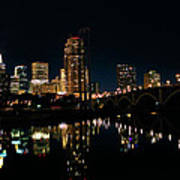 Minneapolis Night Skyline Poster