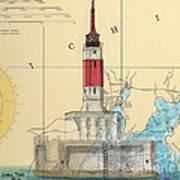 Minneapolis Shoals Lighthouse Mi Nautical Chart Map Art Poster