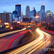 Minneapolis Skyline At Dusk Early Evening Poster
