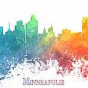 Minneapolis Skyline Colored Poster