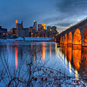 Minneapolis Skyline Images Stone Arch Bridge Spring Evening Poster